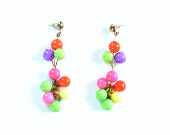 Vintage 1990's Dangle Earrings, Plastic Dangles, Post-style Backs