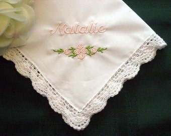 Flower Girl Gift, Bridal Party Gift, Sweet and Simple, Personalized Handkerchief