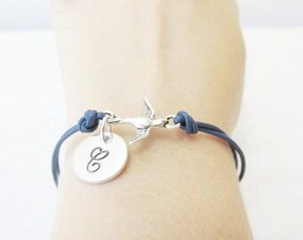 Swallow Bracelet, Initial Bracelet,  Genuine Leather Adjustable Bracelet, Silver Swallow Bracelet, Silver Bird Bracelet ,Gift For Her