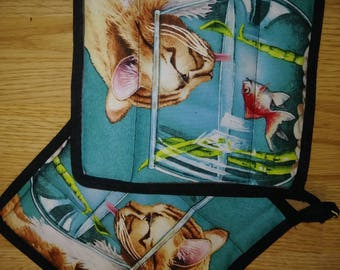 Cat 2 Pc. Hot Pad or Pot Holder Set