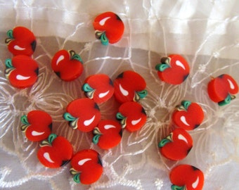 Fimo Polymer Clay Round Flat Beads Colorful Apple Fruit 10mm approx. - 8 pieces
