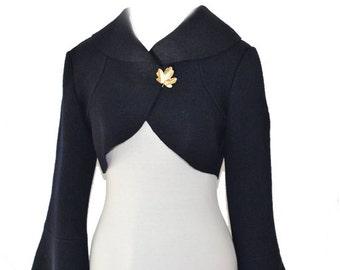 Women boiled wool  Bolerojacket size XS-L  darkblue navy