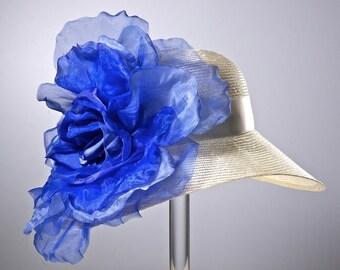 Kentucky Derby Hat, Ivory Straw Medium Brimmed Cloche, Royal Blue Flower