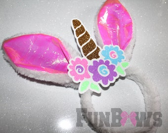 Adorable Unicorn Bunny Ears - Great for Easter and Cheer - by FunBows !