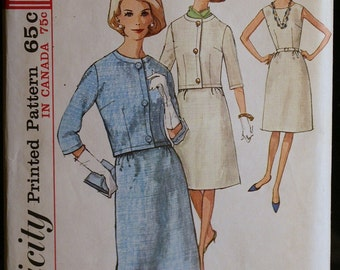Vintage Sewing Pattern 60s Misses Dress and Jacket Pattern MAD MEN Style Simplicity 5779 Sz 18
