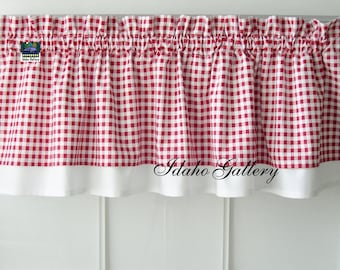 """Gingham Check Red and White Country Curtain Modern Double Layered Kitchen Curtain Short Valance Checkered Farmhouse Curtain 13"""" x 43"""" Wide"""