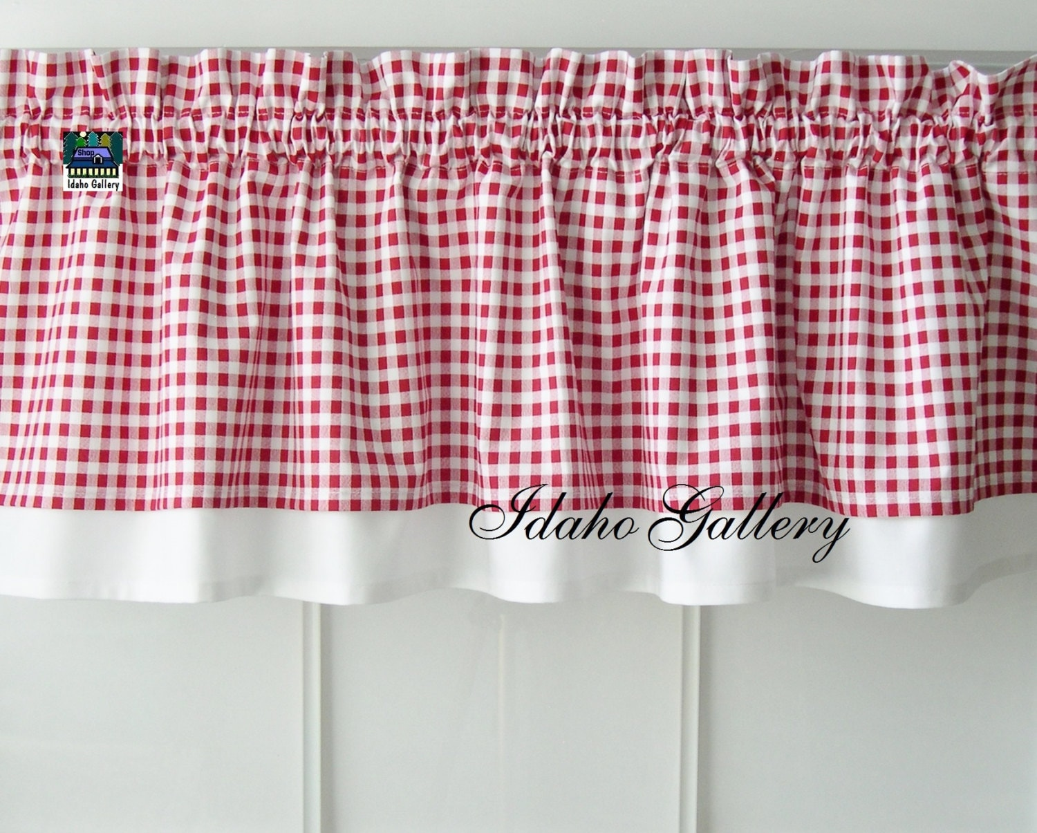 Gingham Check Red and White Country Curtain Modern Double