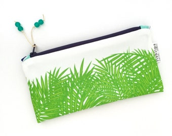 Tropical Leaves Recycled Zipper Pouch, Green Beach Clutch, Eco Pencil Case + Glass Bead Tassel, Handmade Gift, Sustainable, Custom Fabric