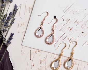 Rose Gold Teardrop Earrings, Gold Pear Shaped Earrings, Drop Earrings, Modern Bridal Earrings, Bridesmaid Earrings, Swarovski Clear Crystal