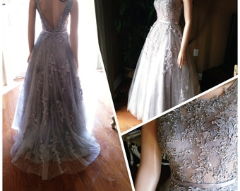 Grey wedding dress, sheer wedding dress - beaded lace, sheer bodice