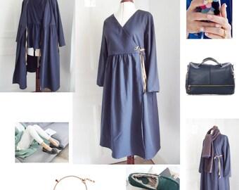 Wrap dress size blue-gray