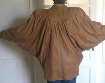 1980's Light tan leather jacket, size 16-18, batwing sleeves, beautiful leather - As New