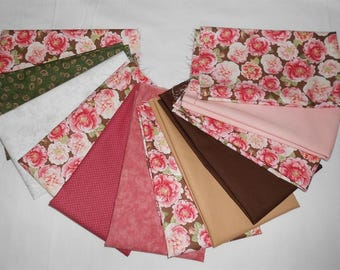 Rosehill/Old-Fashioned Rose Floral Fabric Fat Quarter Bundle 12pc. -rose/pink/green/white/flesh/brown/tan (#o233)