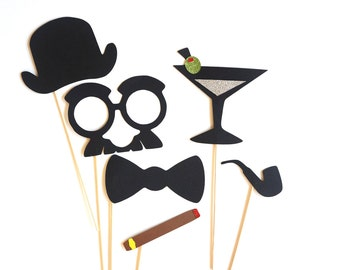 Photo Booth Props - Dapper Collection - Set of 6 Photobooth Props with GLITTER, includes pipe