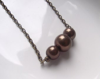 Brown Bronze 3 Pearl  Necklace
