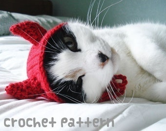 CROCHET PATTERN - Pet Hat Costume - PDF Instant Download - Devil Cat - Cute Halloween Disguise