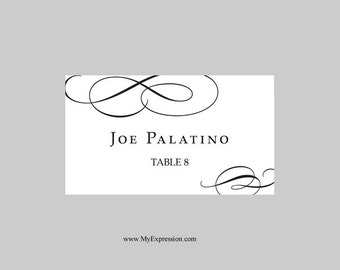 Wedding Place Cards Flat Template Black Vintage Scrolls - Wedding place card templates free download