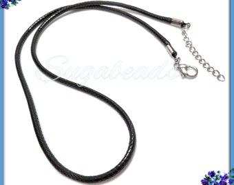 2x Black Cord Necklaces with Stainless Steel Clasp, Stainless Steel Extender, Stainless Steel and Black Cord Necklace