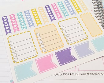 Planner Sticker Set in Pastels- lists, flags, banners, checklists- perfect for your Erin Condren planner, wall calendar or scrapbook