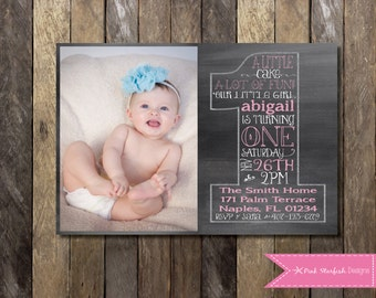 Chalkboard First Birthday Invitation with Picture, Chalkboard Invitation, 1st Birthday Invitation, Printable Invitation, Chalkboard, Invite