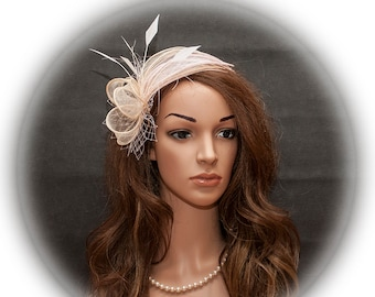 Champagne and light pink fascinator for your special occasions- New elegant and simple design for your special occasions.