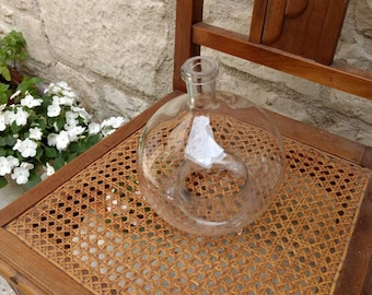 Unique hand blown French antique / vintage glass wasp / fly bottle trap artisan made.