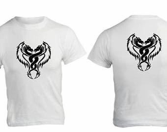 white t-shirt with dragon transfer