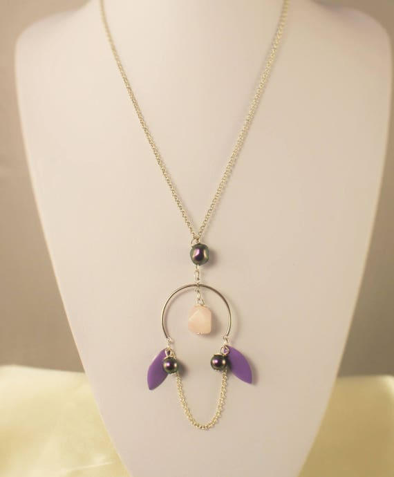 sautoir argent 925  pierre fine rose  et swarovski violet iridescent