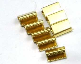 40 pcs 6x9 mm Raw Brass Ribbon Crimp Ends, Raw Brass Ribbon Crimp End, Ribbon Crimp Ends cap,, Findings R535
