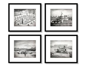 SALE, Versailles Photo Set, Paris Wall Art, black and white photography, Versailles Gardens, Travel Decor, Gallery Wall Art, Set of 4 Prints