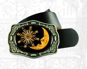 Man in the Moon with Comet Belt Buckle Inlaid in Hand Painted Black Enamel Celestial Belt Buckle Neo Victorian Inspired With Color Options
