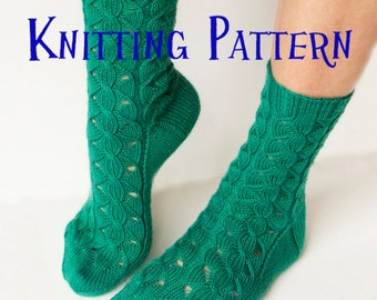 PDF Knitting Pattern - Waterfall Socks, Womens Cable and Lace Sock pattern, knit socks pattern, sock instructions, DIY knit socks