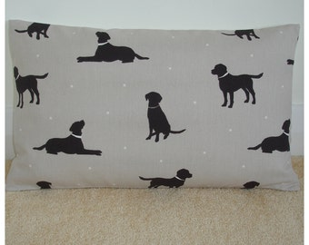 "12x18 Oblong Bolster Chocolate Labrador Pillow Cover 18""x12"" Brown Lab Dog Cushion Slip Sham Case Retriever Dogs Accent Throw Decor"