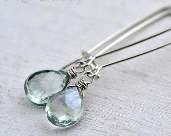 Mystic Green Amethyst Gemstone Dangle Earrings in Sterling Silver - Mystic Prasiolite Earrings - Long Green Stone Dangle Earrings