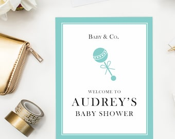 Baby & Co. Welcome Sign, Baby Shower Decoration, New Baby Welcome Poster, Baby and Co, Robin's Egg Blue Decorations