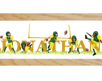 American Football Door Plaque - Children's / kids / name sign / Illustration (Personalised to favourite team / colours)