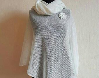 Women ponchos, Linen poncho, Knit poncho, Wedding poncho, Bridal poncho, White poncho cape, Crochet flower, Linen shawl, Evening shawl wraps
