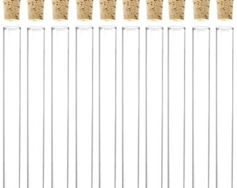 100 Glass Test Tubes / 100 Cork Stoppers 150mm x20 mm