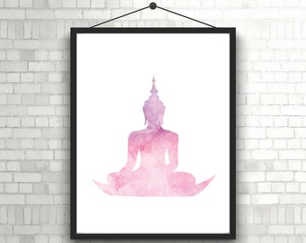Buddha Wall Art //Buddha Pink Watercolor Art //Buddha Digital Print Art //Buddha Watercolor Print// Printable Buddha Art// Buddha Sitting