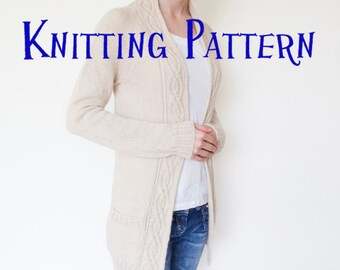 PDF Knitting Pattern - Alpine Cardigan, Open Front Cardigan Knitting Pattern, Ladies Knit Sweater Pattern, Top Down Raglan Cabled Cardigan