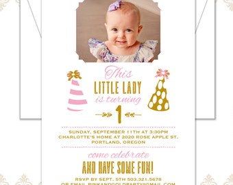Pink and Gold Birthday Invite, Little Girl First Birthday Invite, Glam Party Hats Birthday Invite, Modern Photo Pink Birthday Invitation