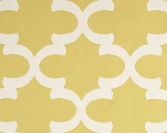 SALE - Premier Prints Fynn Saffron Yellow Fabric - Saffron Yellow and Natural Slub Quartrefoil Lattice Print - Fabric by the half yard