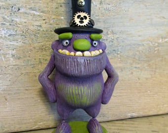 Steampunk Monster with top hat original art because you deserve this! signed dated with tag