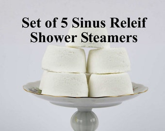 Sinus Relief Shower Steamer Set -  Set Of 5 - Aromatherapy  - Peppermint, Eucalyptus, Menthol  - Gift For Him - Gift For Women - Wife Gift