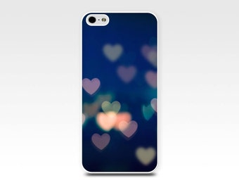 iphone 5s case bokeh iphone case hearts iphone 6 case iphone 4s case abstract iphone case photography iphone 5 case 4 blue peach pastel