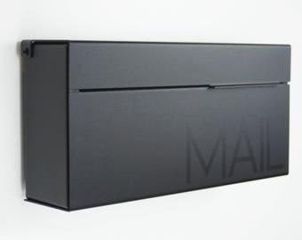 Black Modern and contemporary mailbox LOUIS B, Modern Mailbox, Wall Mounted mailbox - contemporary - black #147b