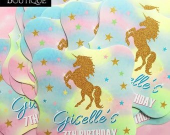 Unicorn Birthday party, LARGE Unicorn Stickers, Unicorn labels,Gold Glitter Unicorn,Rainbow Unicorn,Favors, Gift stickers,Magical unicorn
