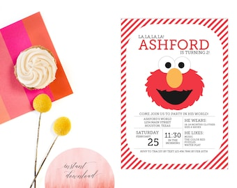 Printable Instant Download Elmo Invitation | Elmo Invite | DIY Instant Download Elmo Invitation | Sesame Street Invitation