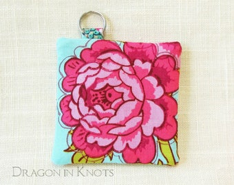 Pink Rose Pouch for Earbuds or Guitar Picks - vibrant light blue fabric holder for small items with key ring and optional swivel clip add-on