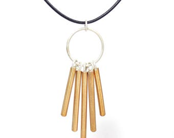 WINDCHIME Necklace Bronze, Copper, or Sterling Silver Pendant, Brushed Finish, Modern Bar Necklace, Gift for Her, Geometric, Unusual Jewelry